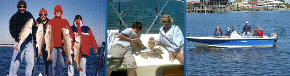 alabama fall redfish charter, mom and son flounder fishing, orange beach inshore fishing charter boat