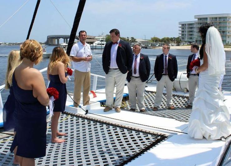 boat charter weddings on bow