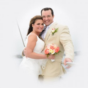 Bride & Groom on an AL Boat Wedding Charter