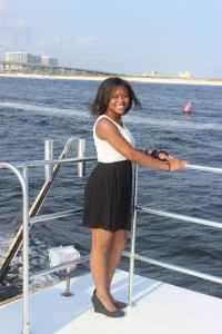 Anthony Brown's niece enjoying the cruise of the burial at sea