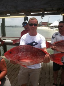 Red snapper caught on a gulf shores deep sea fishing charter boat