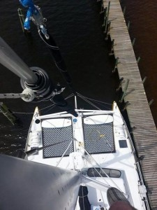 bow nets of a luxury 53' Sailing Catamaran in Orange Beach AL