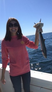Lady Angler trolling along the AL Gulf Coast for mackerel winter 2014