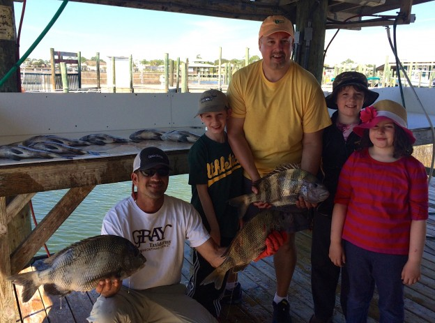 family fishing inshore charter gulf shores al captain marty anglers sheepshead redfish pompano Spring Break 2015