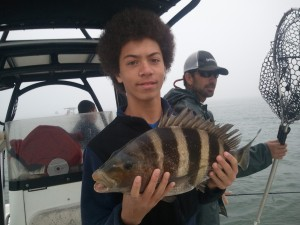 sheepshead and TX teen fishing along the AL Gulf Coast Spring Break 2015 Capt. Marty