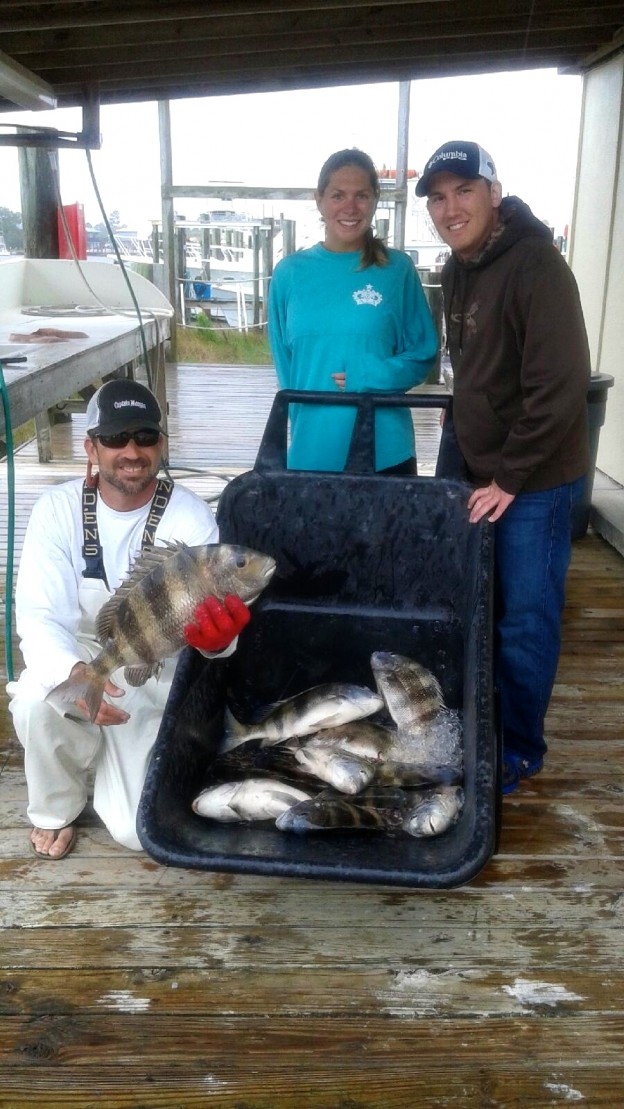 captain Marty Starling with MO anglers with inshore sheepshead catch Spring Break 2015