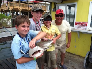 gulf shores al shark fishing kids & dad with a shark