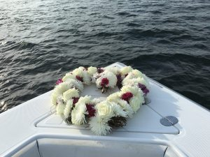 biodegradable heart wreath for a burial at sea