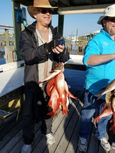 AL Gulf Coast What's Biting Feb '17 String of Snapper Deep Sea Fishing