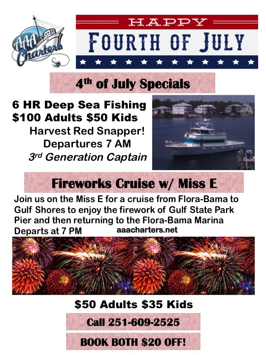 4th of July Fishing & Fireworks Cruise Specials